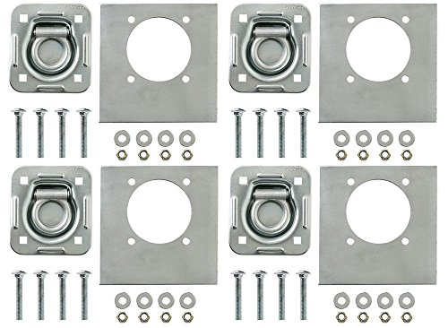 4-pack - Recessed Pan D-ring Trailer Tie Downs (6,000 Lb. Capacity) and Heavy Backer Plates, Including Mounting Hardware (Complete Set: 16 Carriage Bolts, Washers and Nylon Lock - Complete Set Hardware
