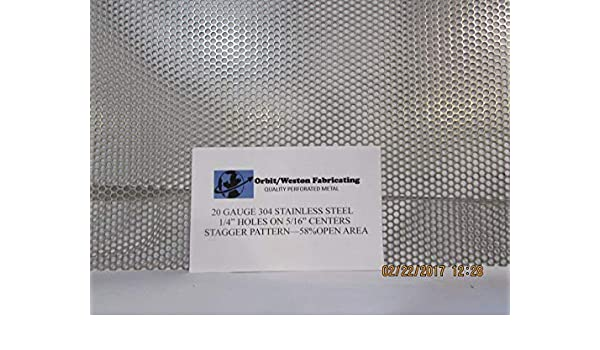 """1//4/"""" HOLES 20 GAUGE 304 STAINLESS STEEL PERFORATED SHEET- 5/"""" X 23/"""""""