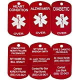 Laser Medical Alert Custom Engraved Medic ID Military Dog Tag Medic Free Laser Engraving (Made IN USA)