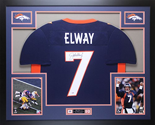 John Elway Autographed Navy Broncos Jersey - Beautifully Matted and Framed - Hand Signed By John Elway and Certified Authentic by PSA COA - Includes Certificate of - John Jersey Autographed Elway
