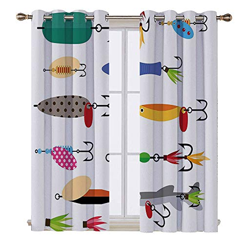 SATVSHOP Curtains - 84W x 96L Inch- Light Blocking Window Treatment for Bedroom Decor 2 Panels Set.Fishing Elements of Fishing Line with Stringer Net Bite Indicators Worms Waders Image