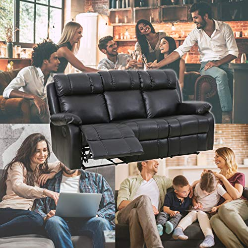 home & kitchen, furniture, living room furniture,  living room sets  discount, Sofa Set Recliner Sofa 3 PCS Motion Sofa Loveseat Recliner PU Leather Sofa Recliner Couch Manual Reclining Chair3 Seater for Living Room deals4
