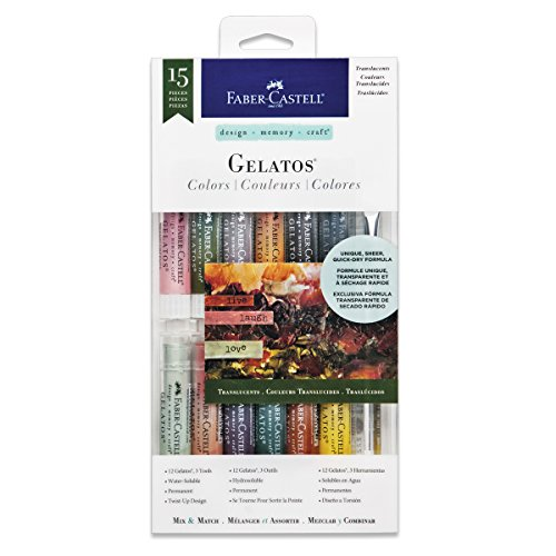 Faber Castell Gelatos Colors Set, Translucents - Water Soluble Pigment Crayons - 15 Translucent Colors ...