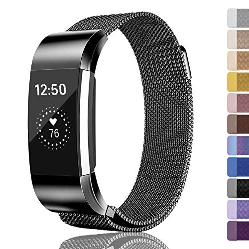 Fundro Compatible for Fitbit Charge 2 Bands, Milanese Loop Stainless Steel Metal Replacement Accessories Bracelet Strap with Unique Magnetic Lock for Fitbit Charge 2 (1-Pack Black, Large)
