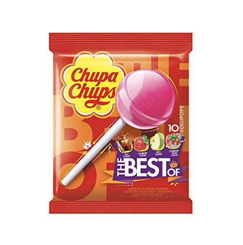Chupa Chups Caramelo con Palo de Sabores Variados, 10 x 12g