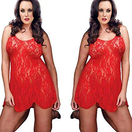 Sexy Women Black Red Lingerie Lace Dress Babydoll Sleepwear G-string Plus Size (XL, Red)