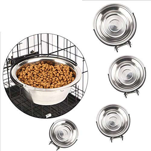 XXL Pet Products Steel Classic,1pc Stainless Steel Dog Pets Bowls Cage Crate Non Slip Hanging Food Dish Water Feeder Bowl with Hooks,S ()