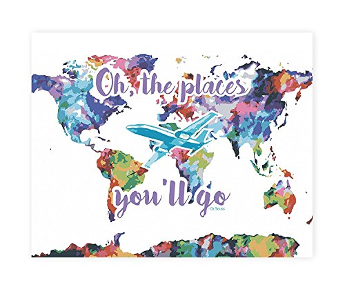 Wall Map, Nursery Decor, World Map Wall Print Oh the Places You'll Go, Dr. Seuss Nursery Wall Print, Nursery Wall Print Quote, Watercolor Décor, Airplane Décor, Oh! The Places You'll Go! Blue]()
