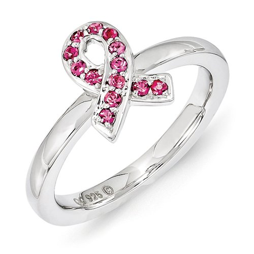 Sterling Silver Stackable Expressions Swarovski Crystal Breast Cancer Awareness Pink Ribbon Ring - Size - Pink Ribbon Ring