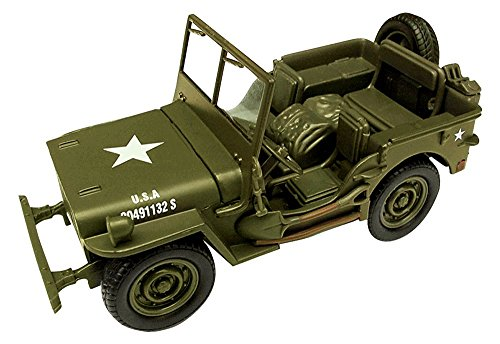 New Ray Jeep Willys 1:32 Scale Die Cast Model Car WW II Military US Army Vehicle (Diecast Model Cars)