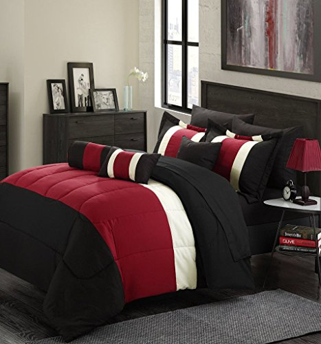 11-Piece Oversized Red & Black Comforter Set King Size Bedding with Sheet Set (Bedding Sets King Oversized)