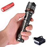 1Pc Matchless Popular 5 Mode LED Flashlight 2000Lm Rechargeable Tactical Light Zoomable Focus Color Gray with Battery Charger