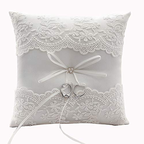 ChuXing Lace Flower Pearl Embroidery Wedding Ring Pillow Ivory Cushion Ring Bearer Pillow 8 Inch for Beach Wedding