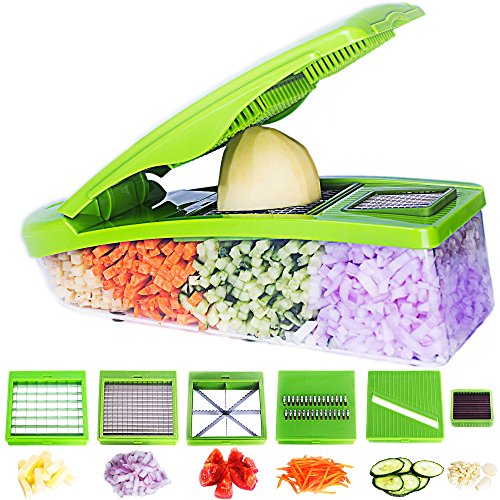 Six Piece Triangle Cutter - Pro Vegetable Chopper by DOTERNITY - Vegetable Grater Potato Slicer - Cutter for Cucumber, Onion with 6 Stainless Steel Blades - Tomato Mandolin Slicer - Food Container with Storage Lid