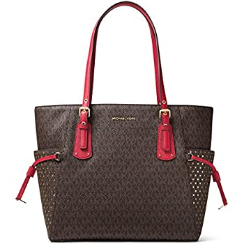2f551d30465c MICHAEL Michael Kors Voyager East West Signature Tote (Brown Burnt Red)