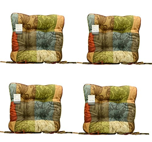 (Set of 4 Red Brown Blue Gold Green Leaf Scroll Kitchen Dining Chair Pad Cushion )