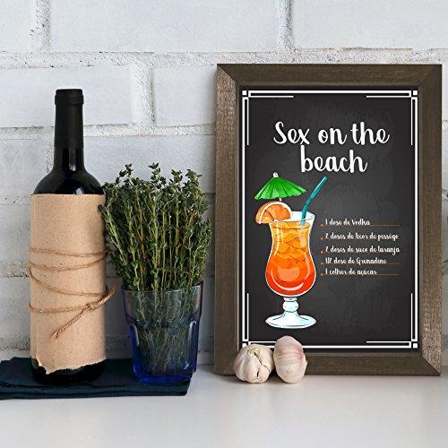 Quadro Bebida Sex on the Beach 22x32cm Moldura Marrom