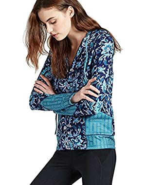 Women's - Blue Vinyasa Floral Print Full Zip Hoodie Scuba Jacket