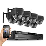 Amcrest 16CH Plug & Play H.265 4K NVR 4MP 1520P Security Camera System, (8) x 4-Megapixel 3.6mm Wide Angle Lens Weatherproof Metal Dome Wi-Fi IP Cameras, 98 Feet Night Vision (Black)