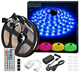 Minger LED Strip Lights Kit, Non-waterproof 5050 RGB Strips Lighting with 12V 5A Power Supply + 44 Key IR Remote Ideal for Home,Kitchen Lighting,Christams Decorations