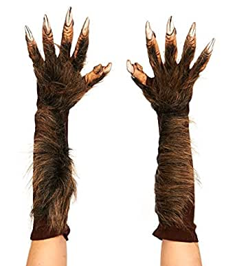 Zagone Wolf Gloves, Brown Werewolf Fingers Faux Fur, Gloves