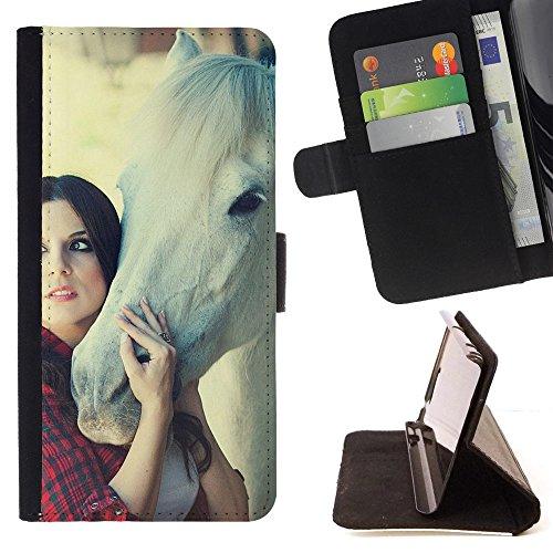God Garden - FOR Apple Iphone 4 / 4S - Brunette Girl Horse Mood - Glitter Teal Purple Sparkling Watercolor Personalized Design Custom Style PU Leather Case Wallet Fli