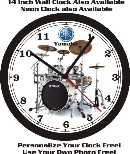 YAMAHA ACOUSTIC DRUM SET WALL CLOCK-FREE PERSONALIZATION & FREE USA SHIP! ()