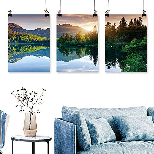 SCOCICI1588 3 Panel Canvas Wall ArtMountain Lake in National Park high Tatra strbske plaeso Slovakia to Hang for Living Room No Frame 16 INCH X 24 INCH X 3PCS ()