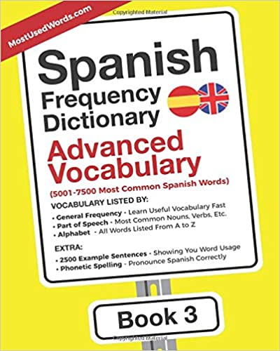 Amazon Com Spanish Frequency Dictionary Advanced Vocabulary 5001