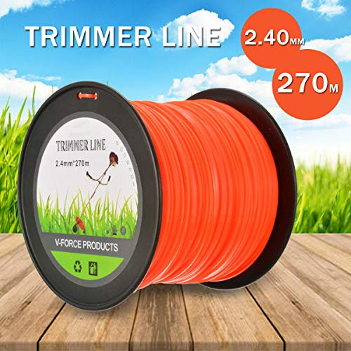 TIRDITY Trimmer Line Nylon Round Trimmer Replacement Spool for Weed Lawn Grass Yard (2.4mm x 270m) ()