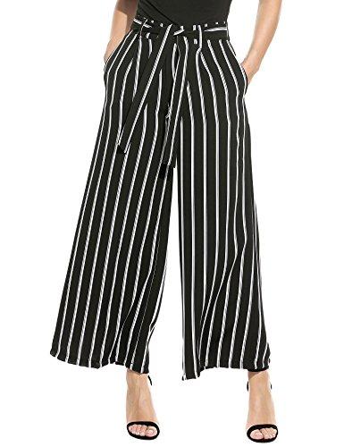 Zeagoo Womens Stripe Flowy Wide Leg High Waist Belted Palazzo Long Pants