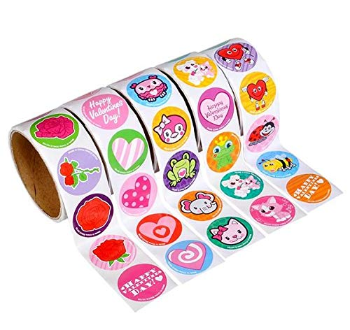 Rhode Island Novelty 5 Rolls ~ Valentine Stickers ~ 100 Stickers Per Roll ~ 500 Stickers Total ~ Approx. 1.5
