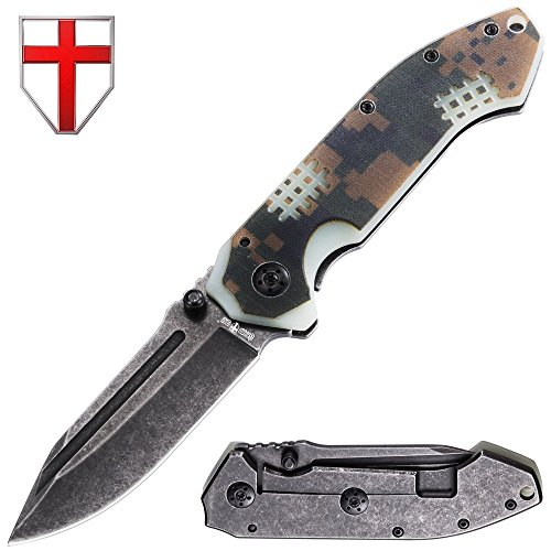 Grand Way Outdoor Folding Knife - EDC and Tactical Classic Pocket Knives Stainless Steel Blade with G-10 Camo Handle - Best Strong Urban Tourist Fold Knife for Travel and Hiking 01289 by Grand Way