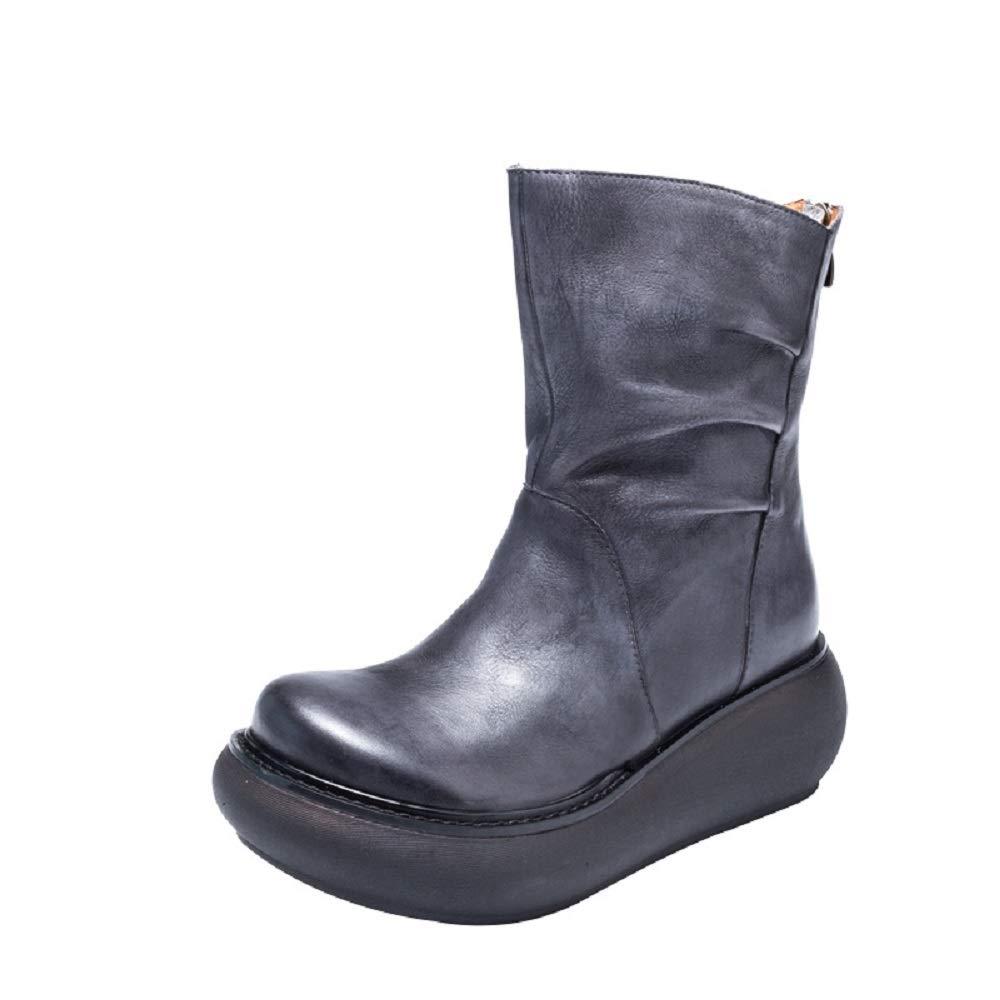ZHRUI Damen Plateau Stiefel Zipper Leder Vintage Comfort Soft Stiefelies (Farbe   Grau, Größe   EU 38)