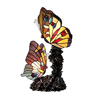 "Chloe Lighting CH15107AA17-TL2 Edith 1 Tiffany-Style 2 Butterfly Table Lamp 10"" Wide 1 2 Light"
