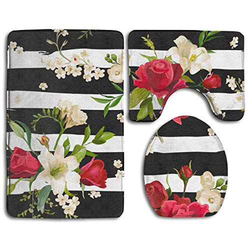 (Geng Fenki Black White Stripes Red Rose Flowers Bath Mat Toilet Seat Cover Rug Bathroom Mat Set Bathroom Decorations Soft Flannel Washable Skidproof 3 Piece Bath Rugs Set)