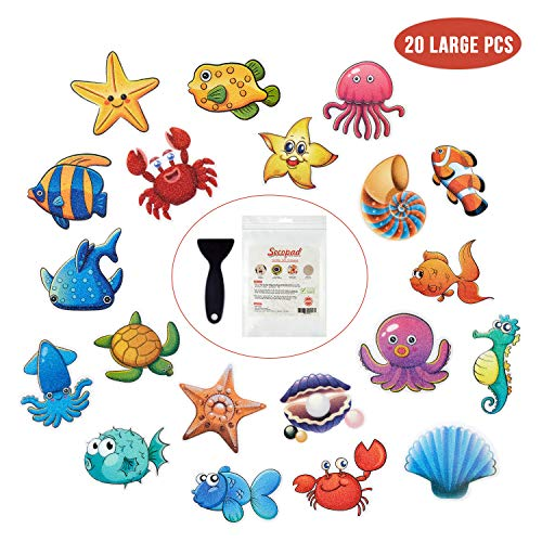 """Non Slip Bathtub Stickers, 20 Large Sea Adhesive Kids Anti Slip Decal Threads for Shower and Bath Tub with Premium Scraper, Each Design About 4.5"""" x 3.5"""""""