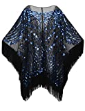 PrettyGuide Women's 1920s Shawl Beaded Evening Wrap Open Front Fringed Cape Black Blue