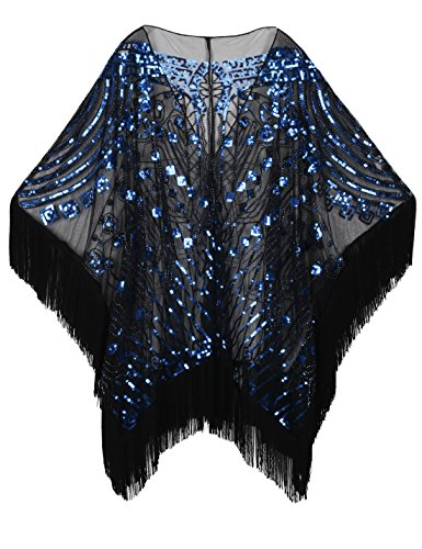 Art Deco Jacket (PrettyGuide Women's 1920s Shawl Beaded Evening Wrap Open Front Fringed Cape Black Blue)