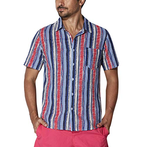 iYBUIA Men's ☀Summer Large Size Stripe Print Turn-Down Collar Short Sleeve Henley T-Shirts Tops Blue