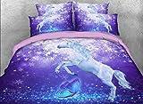 Flying Unicorn and Butterfly 3D Bedding Sets Dreamlike Elegant Snowflake Print Duvet Cover Set 4 Pieces Purple Bedding Set