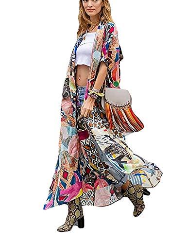Women's Long Sheer Floral Kimono Cardigan, Chiffon Bikini Beach Cover up, Summer Blouse Loose Tops (B31-colorful)