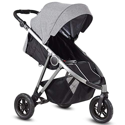 HONEY JOY Jogger Stroller, 3-Wheel Baby Travel Stroller, Reclining Seat with Adjustable Handlebar and Storage Basket