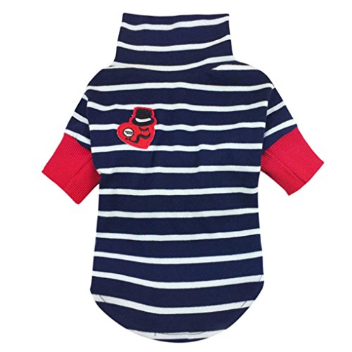 Minisoya Fashion Cat Dog Apparel Coat Pet Clothes Stripe Shirt Puppy Costume (Blue, S)