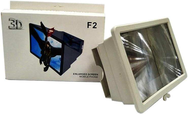 Lupa de pantalla de teléfono 3D, amplificador de vídeo para smartphone, plegable, para teléfono móvil, amplificador de vídeo 3D HD con soporte plegable talla única blanco: Amazon.es: Hogar