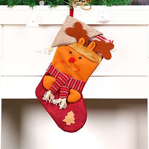 Christmas Tree Decorations, Jchen(TM) Christmas Stockings Gift Bags, Santa Claus Snowman Pattern Decoration Christmas Tree Candy Gift Christmas Decor (Brown) by Jchen Christmas Tree Decor (Image #1)