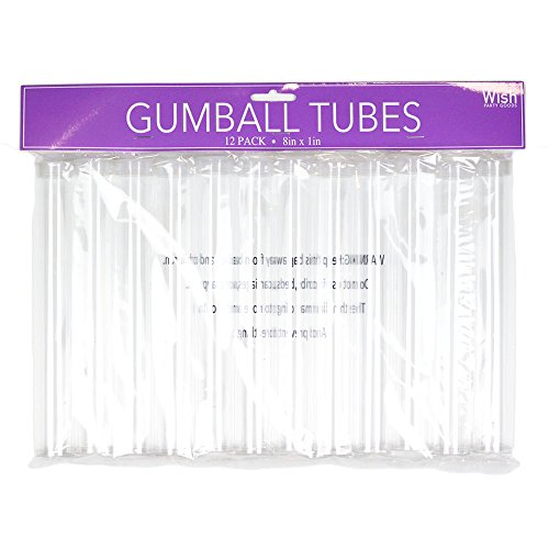 Wish Party Goods 12 Count Clear Gumball Tubes -8inx1in -Party Favors -Candy Tube -Sturdy Clear Plastic Tube w/Frosted Cap -Includes 12 Tubes]()
