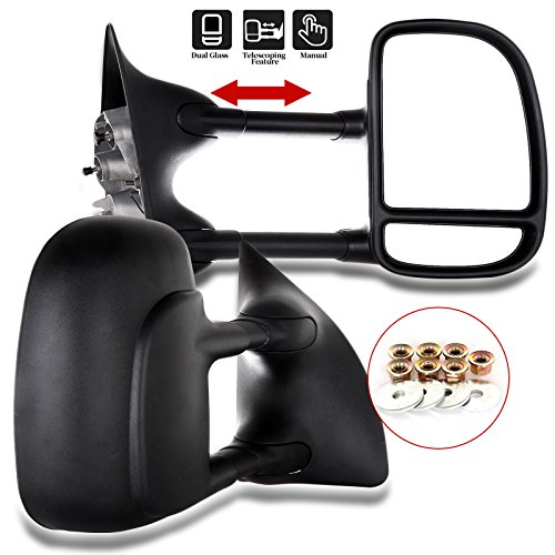 ECCPP Towing Mirrors for 99-07 Ford F250 F350 F450 F550 Super Duty Door Side Manual Mirror Black Set Pair Driver and Passenger (2000 01 02 03 04 05 06 Ford)