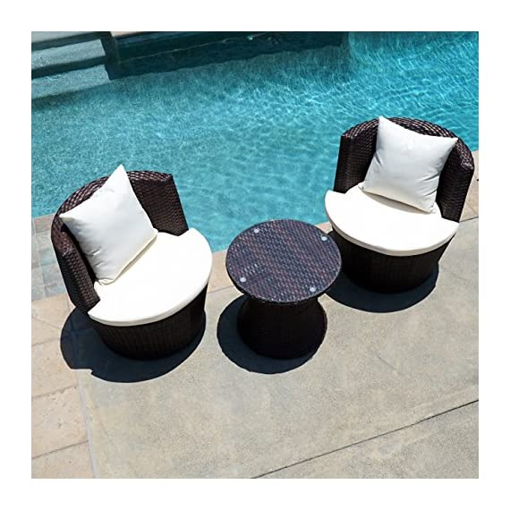 Belleze 3PC Patio Outdoor Rattan Patio Set Wicker Backyard Yard Furniture Outdoor Set Hour Glass Table Round Chairs, Brown - Simple Contemporary- Design of this patio set suits a range of tastes and preferences, which complements any Outdoor/Indoor living space Elegant and Comfortable- 3-Piece Wicker set will transform your outdoor area into a cozy private retreat Classy Design- Patio set features a classy and comfortable fabric cushion, which matches with a rich Rattan material - patio-furniture, patio, conversation-sets - 51uId7iwEVL. SS570  -