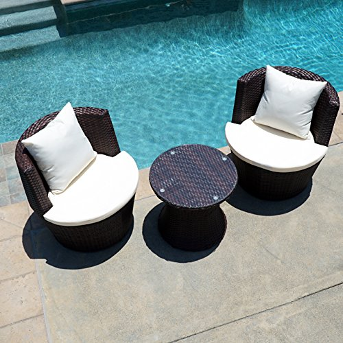 Belleze 3PC Patio Outdoor Rattan Patio Set Wicker Backyard Yard Furniture Outdoor Set Hour Glass Table Round Chairs, Brown